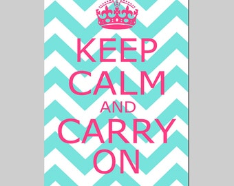 Keep Calm and Carry On - 13x19 Chevron Edition - Kids Wall Art - Teen Poster Size Print - CHOOSE YOUR COLORS