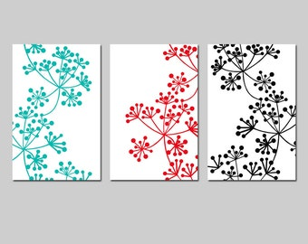 Wall Art - Modern Botanical Trio - Set of Three 11x17 Coordinating Floral Prints - CHOOSE YOUR COLORS - Shown in Black, White, Red, Aqua