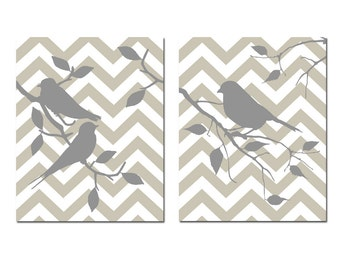 Set of Two 8x10 Chevron Bird Prints - Perfect for Bathroom, Nursery, Kitchen, Bedroom - CHOOSE YOUR COLORS - Shown in Gray, White, and Taupe