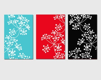 Modern Wall Art Decor Botanical Floral Trio - Set of Three 11x17 Prints - CHOOSE YOUR COLORS - Shown in Aqua, Red, Black, White