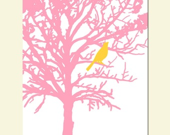 Bird in a Tree - 11x14 - Modern Nursery Art Print - CHOOSE YOUR COLORS - Shown in Yellow, White, Pink, and More - Nature