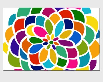 Large Floral Wall Art - 13x19 Abstract Colorful Floral Flower Art Print - CHOOSE YOUR COLORS