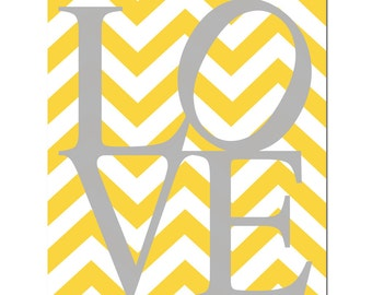Chevron LOVE  - 11x14 Print - Choose Your Colors - Kids Wall Art - Chevron Design - Choose Your Colors - Shown in Gray, Yellow, and More