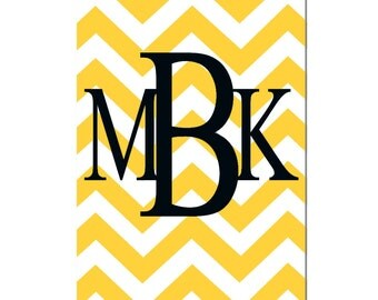 Monogrammed Letter or Customized Initial - Large 13x19 Print - Choose Your Letters and Colors - Chevron Design Pattern - Gray, Yellow