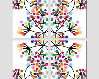 Modern Abstract Botanical Floral Quad - Set of Four 8x10 Kaleidoscope Prints - Super Colorful - Instant Focal Point