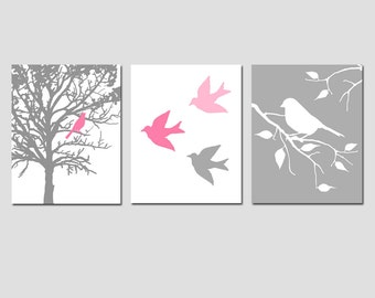 Modern Bird Trio - Set of Three 8x10 Prints - Perfect for Nursery - CHOOSE YOUR COLORS - Shown in Pink and Gray