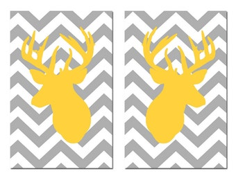 Chevron Deer Duo - Set of Two 13x19 Prints - Chevron Design Pattern with Deer Head Silhouette - CHOOSE YOUR COLORS - Shown in Gray, Yellow