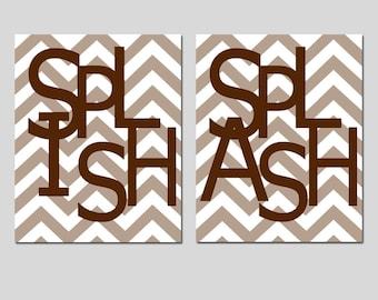Kids Bathroom Wall Art Print Set - Set of Two 8x10 Chevron Prints - Splish, Splash - CHOOSE YOUR COLORS - Shown in Taupe and Chocolate Brown