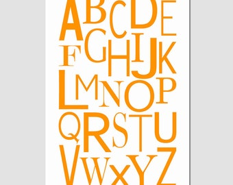 Modern Alphabet - 13x19 Print - Kids Wall Art for Nursery or Playroom - CHOOSE YOUR COLORS - Shown in Orange, Yellow and More