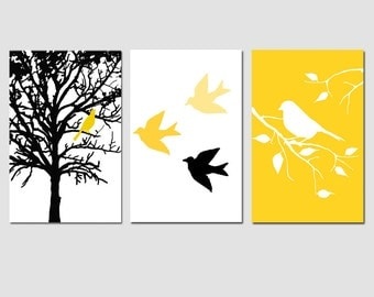 Modern Bird Tree Nursery Art Wall Decor Trio - Set of Three 13x19 Prints - Choose Your Colors - Shown in Yellow, Gray, Black, White