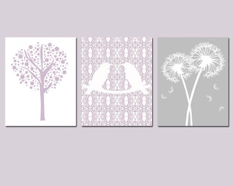 Nursery Trio - Set of Three 8x10 Prints - Love Birds, Tree Dot, Dandelion Floral - CHOOSE YOUR COLORS - Shown in Pale Purple, Gray