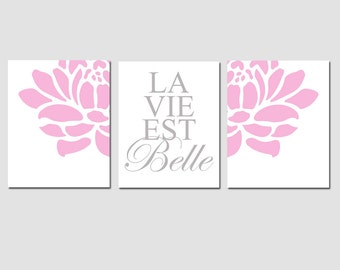 La Vie Est Belle - Set of Three Modern Floral 8x10 Prints - CHOOSE YOUR COLORS - Shown in Yellow, Pink, Gray, and More - Modern Nursery