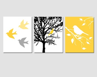 Modern Bird Trio - Set of Three 8x10 Nursery Art Prints - Birds, Branches, Tree, Nature - CHOOSE YOUR COLORS - Yellow, Gray and More