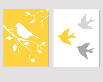 Modern Bird Duo - Set of Two 8x10 Prints - Bathroom, Nursery, Kitchen, Bedroom - CHOOSE YOUR COLORS - Shown in Yellow, Gray, and More