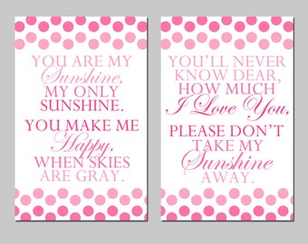 You Are My Sunshine, My Only Sunshine - Set of Two 11x17 Polka Dot Poem Prints - Mixed Font - Modern Nursery Decor - CHOOSE YOUR COLORS