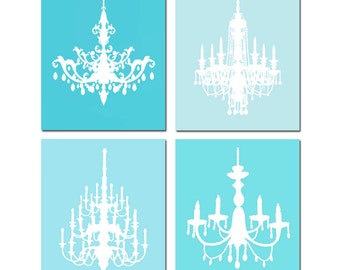 Modern Chandelier Quad - Set of Four 8x10 Coordinating Prints - CHOOSE YOUR COLORS - Shown in Medleys of Aqua, Hot Pink, Orange and More