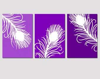 Modern Peacock Feather Trio - Set of Three 11x17 Prints - CHOOSE YOUR COLORS - Shown in Purple, Turquoise, Teal and More