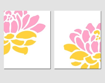 Floral Duo - Set of Two 8x10 Prints - Modern Wall Art for Nursery or Home - CHOOSE YOUR COLORS - Shown in Yellow, Gray, Pink, and More