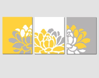 Floral Trio - Set of Three 11x14 Prints - Modern Nursery Art or Home Decor - Abstract - Choose Your Colors - Shown in Yellow, Gray, White