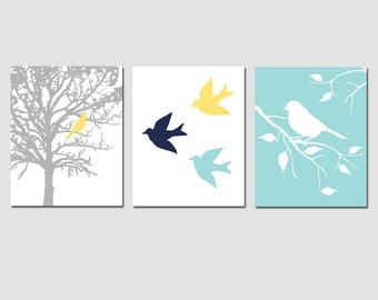 Modern Bird Trio - Set of Three 11x14 Prints - Modern Nursery Art - CHOOSE YOUR COLORS - Shown in Navy Blue, Aqua Blue, Yellow, Gray