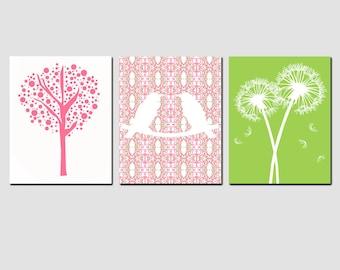 Nursery Art Trio - Set of Three 8x10 Prints - Love Birds, Tree Dot, Dandelion Floral - Nursery Decor - Kids Wall Art - CHOOSE YOUR COLORS