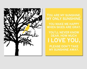 You Are My Sunshine and Bird In a Tree - Set of Two 8x10 Prints - Modern Nursery Art - CHOOSE YOUR COLORS - Shown in Yellow, Gray and More