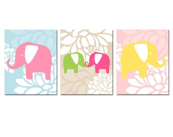 Floral Elephant Nursery Art Trio - Set of Three 8x10 Prints - Baby Girl Nursery Art - Flowers - CHOOSE YOUR COLORS