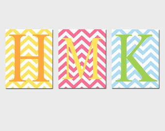 Modern Chevron Monogram Trio - Set of Three 8x10 Customizable Zig Zag Chevron Initial Prints - Kids Wall Art - CHOOSE YOUR COLORS
