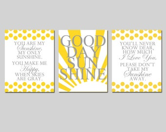 Modern Sunshine Trio - Set of Three 8x10 Prints - You Are My Sunshine, My Only Sunshine, Good Day Sunshine Quote - CHOOSE YOUR COLORS