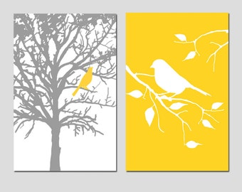Set of Two 13x19 Prints - Birds and Trees - Bathroom, Nursery, Kitchen, Bedroom - Choose Your Colors - Shown in Gray, Yellow, and More