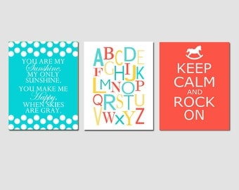 Modern Nursery Art Trio - You Are My Sunshine, Alphabet, Keep Calm and Rock On - Set of Three 11x14 Prints - CHOOSE YOUR COLORS
