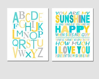 Nursery Art - Set of Two 8x10 Prints - You Are My Sunshine and Modern Alphabet - CHOOSE YOUR COLORS - Shown in Yellow, Aqua, Gray, and More