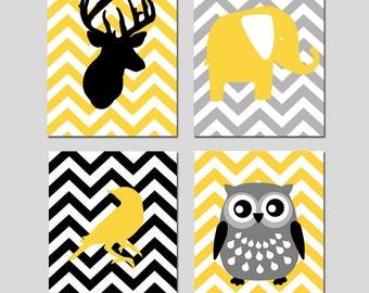 Modern Nursery Art Quad - Set of Four 11x14 Prints - Chevron Animals - Kids Wall Art - Deer, Owl, Elephant, Bird - CHOOSE YOUR COLORS