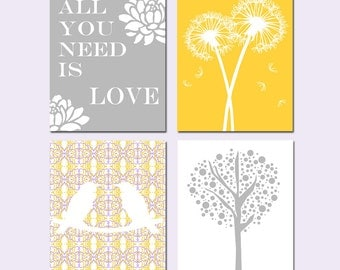Nursery Art Quad - Set of Four 8x10 Prints - Love Birds, All You Need Is Love, Tree Dot, Dandelion Floral - Yellow, Gray, Lilac Purple