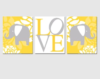 Floral Elephant Love Trio - Set of Three 11x14 Nursery Art Prints - Choose Your Colors - Shown in Yellow, Gray, Light Pink and More