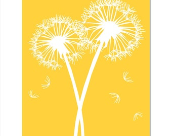 Dandelions Series I - 8x10 Floral Dandelion Print - CHOOSE YOUR COLORS - Shown in Yellow, Aqua, Pink, Gray, and More