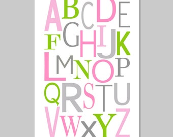 Modern Alphabet - 11x17 - Kids Wall Art for Nursery or Playroom - CHOOSE YOUR COLORS - Shown in Yellow, Gray, Pink, Green, and More