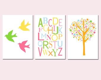 Modern Alphabet Nursery Art Trio - Set of Three 13x19 Prints - Tree Dot, Baby Birds, Colorful Alphabet - Kids Wall Art - CHOOSE YOUR COLORS
