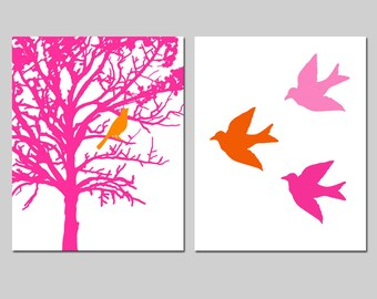 Set of Two 11x14 Prints - Birds and Trees - Bathroom, Nursery, Kitchen - CHOOSE YOUR COLORS  - Shown in Hot Pink, Red Orange, and More