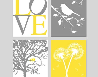 Yellow and Gray Nursery Art - Set of Four 8x10 Prints - You Are My Sunshine, LOVE, Birds in a Tree, Dandelions, Bird on a Branch