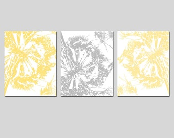 Abstract Dandelion Trio - Set of Three 8x10 Coordinating Modern Floral Prints - CHOOSE YOUR COLORS - Shown in Yellow, Gray, Aqua, and More