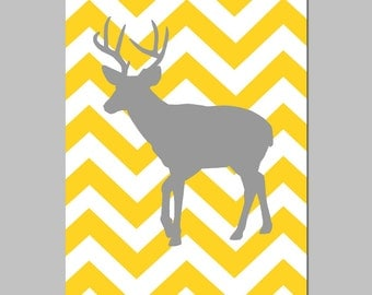 Modern Chevron Deer Silhouette Print - 11x17 Chevron Zig Zag - CHOOSE YOUR COLORS - Shown in Yellow, Gray, Navy Blue, and More