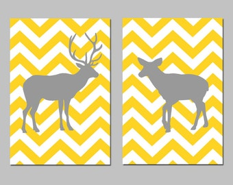 Set of Two Modern Chevron Deer Silhouette Prints - Buck and Doe - 8x10 Zig Zag - Choose Your Colors - Shown in Yellow, Gray, and More