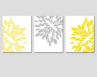 Modern Abstract Painterly Floral - Set of Three Large Scale 11x14 Art Prints - CHOOSE YOUR COLORS - Shown in Pale Yellow, Gray, and More