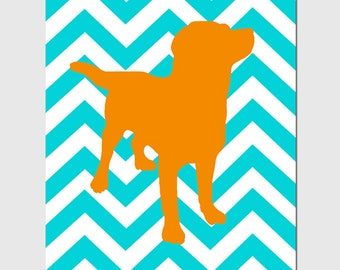 Chevron Labrador Puppy Dog Nursery Art Print - 8x10 - Choose Your Colors - Shown in Gray, Yellow, Aqua, Orange, and More