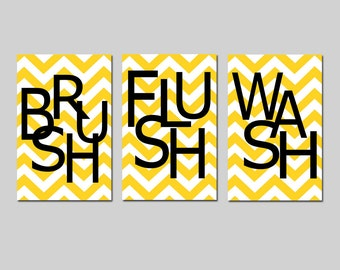 Kids Bathroom Wall Art Print Set of Three 11x17 Chevron Prints - Wash, Brush, Soak, Splish, Splash, Flush, Floss, Scrub - CHOOSE YOUR COLORS