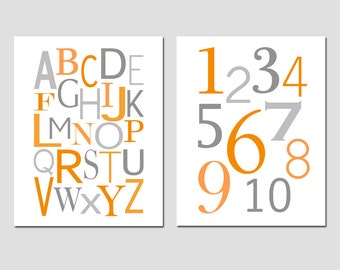 Nursery Art  - Alphabet and Numbers - Set of Two 8x10 Prints - CHOOSE YOUR COLORS - Shown in Green, Orange, Gray, Pink, Yellow and More