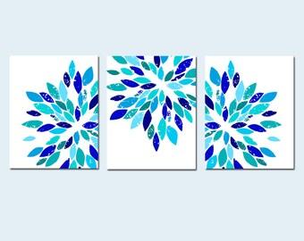 Blue Flower Art Blue Dahlia Flower Art Set of 3 Flower Prints Blue Flower Art Modern Blue Wall Art Modern Floral Art - CHOOSE YOUR COLORS