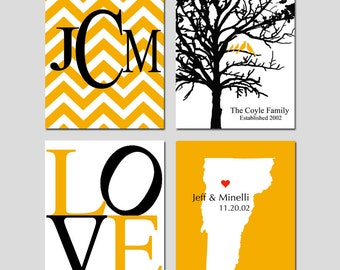Family Love - State Map, Chevron Monogram, Family Established Birds Tree, Love - Set of Four 8x10 Prints - GREAT WEDDING GIFT