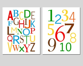 Alphabet and Numbers - Nursery Decor - Kids Wall Art - Set of Two 11x14 Prints - Educational - CHOOSE YOUR COLORS
